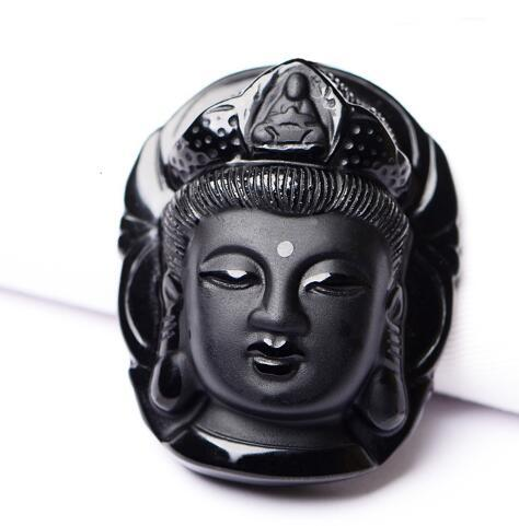 2017 Special Offer New Solitaire Trendy Fairy Kolye For Buddha Guanyin Head Obsidian Pendant Amulet Necklace For Bead Chain