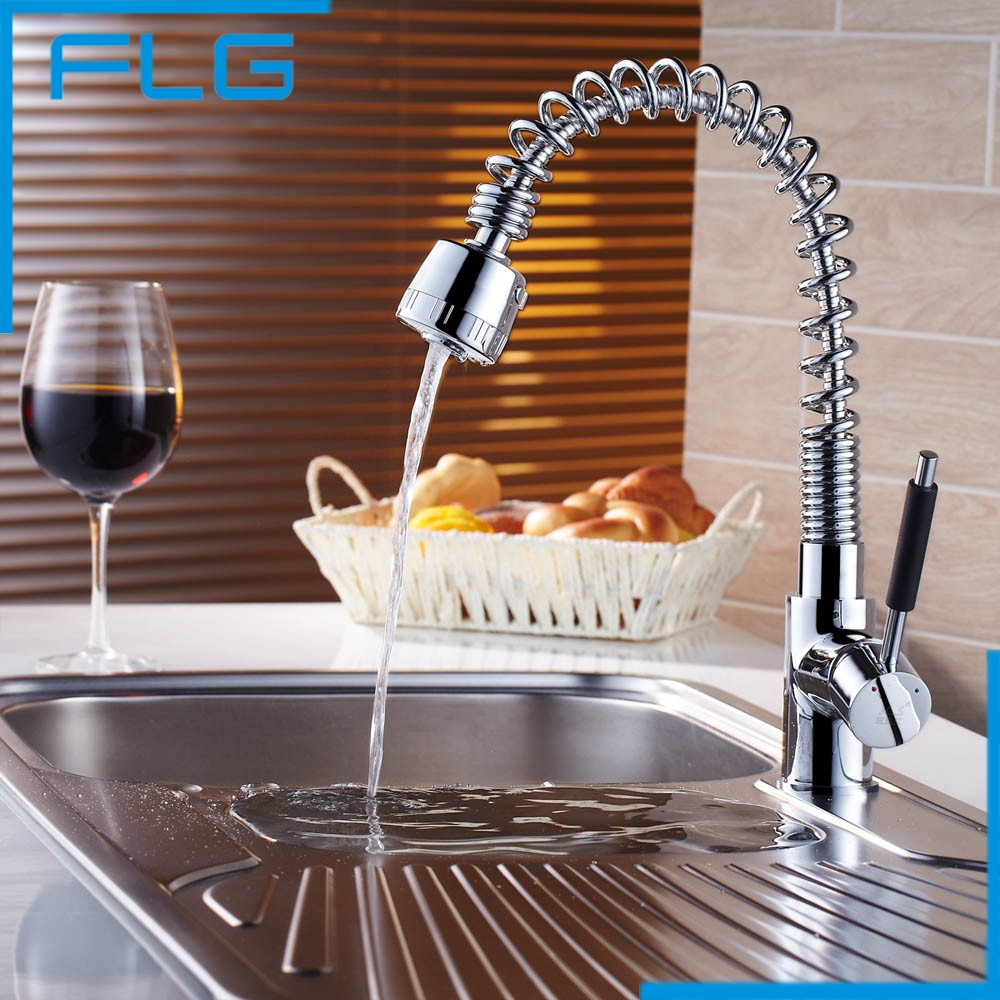 Pull Out Swivel Kitchen Sink Mixer Tap, Brass Chrome Basin Water Saver Tap Kitchen Faucet Torneira