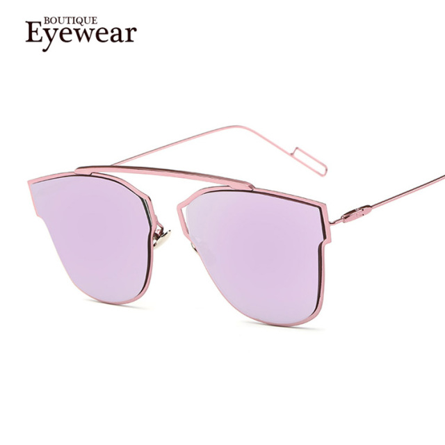 BOUTIQUE Fashion Cat Eye Sunglasses Women Alloy Frame Men Classic Sun glasses 9 Colour