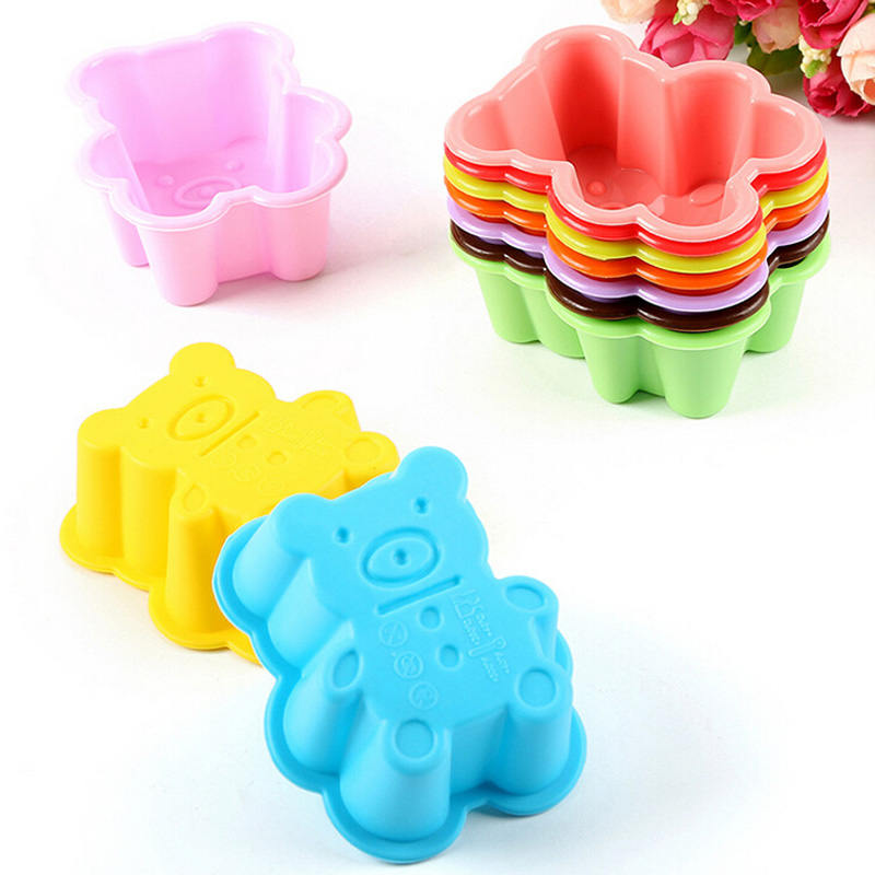 1PC Cute Bear Silicone Cake Mold Soap Jelly Muffin Cup Kitchen Dining Bar Supplies Bakeware Tools Silicone Molds