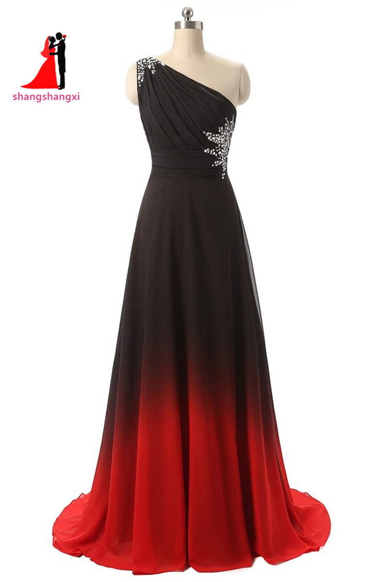 Red and Black Ombre Prom Dress