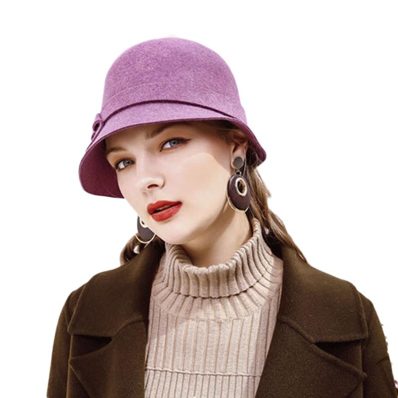 faef4ebfc5e16 Aliexpress.com   Buy 2018 New Elegant Women Winter Wool Hats Felt Female  Short Brim Cloche Round Hat Ladies Dome Blue Purple Brown Fedora Hats from  Reliable ...