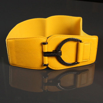 Lady Waist Belt Yellow-controlled Decorative Belt Hight Elastic Waist Chain Girls Fashion Decoration Belt Wide Belt B-8394