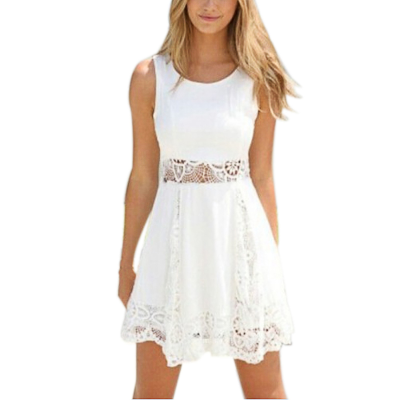 Summer Dress Sweet Style Lace Hollow Out Patchwork Women Sleeveless A-line Mini Dresses  White O-neck Female Cotton Dress