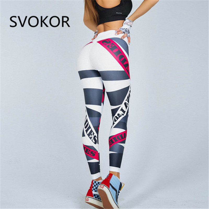 SVOKOR Letter Print Leggings Women Fitness High Waist Push Up Trousers Breathable And Comfortable Workout Girl Leggings