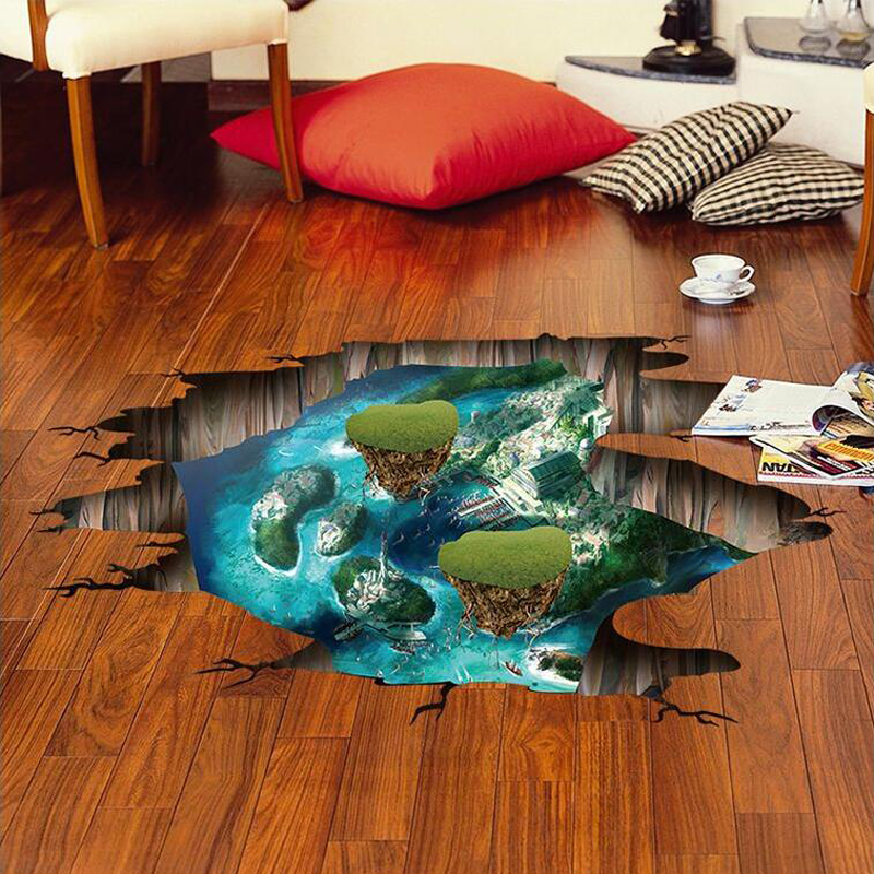 3D island floor wall stickers bedroom self adhesive living room wall pictures removable  ...