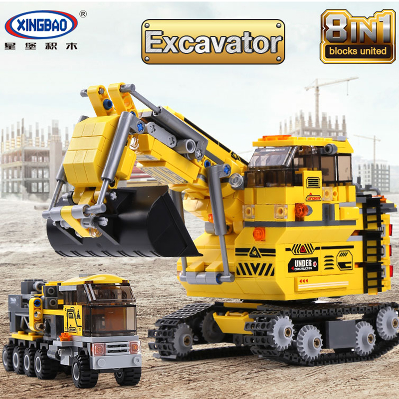 XINGBAO 8 in 1 Building Blocks City Engineering the Giant yellow Excavator DIY Educational Toys for Children Legoinglys Technic 196pcs building blocks urban engineering team excavator modeling design