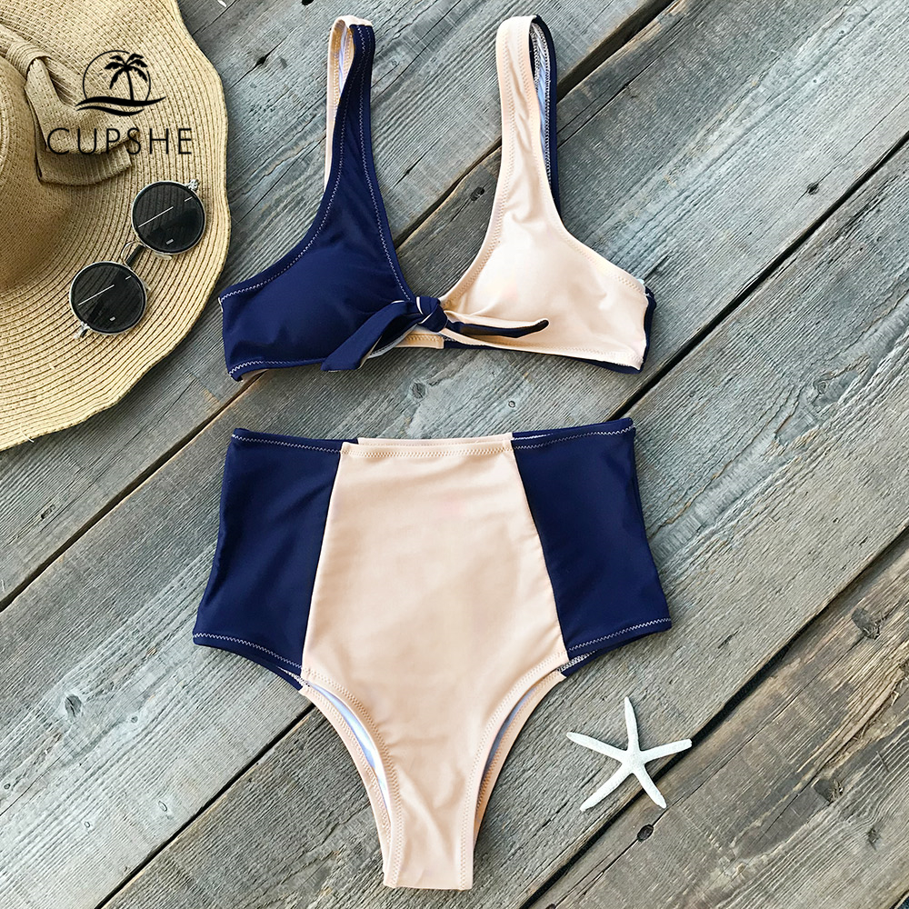 Cupshe Lost In The Dream Bikini Set Women Patchwork Knot High-waisted Two Pieces Swimwear 2019 Beach Bathing Suit Swimsuits
