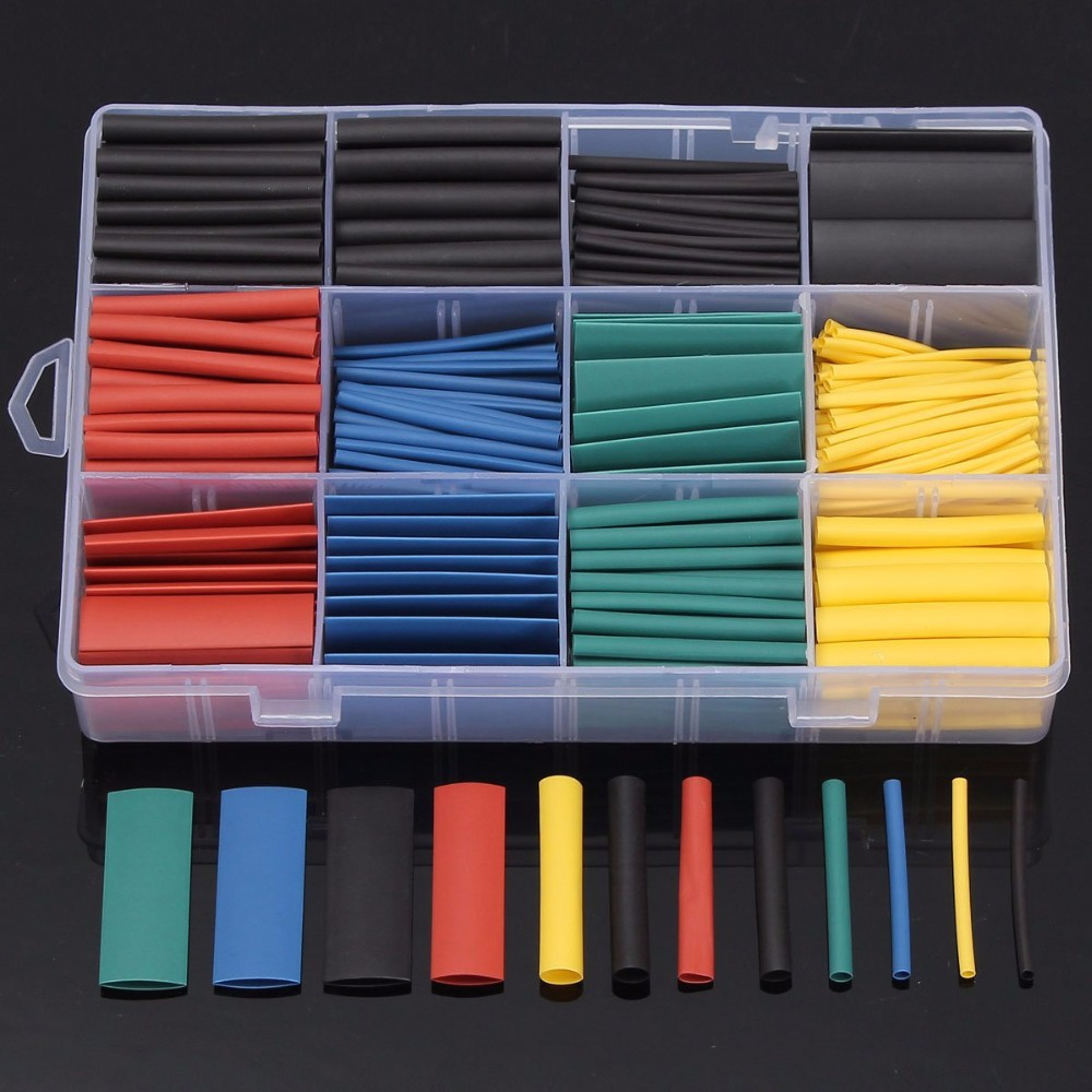 530pcs Heat Shrink Tubing Insulation Shrinkable Tube Assortment Electronic Polyolefin Ratio 2:1 Wrap Wire Cable Sleeve Kit