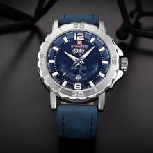 New NAVIFORCE Sport Quartz Watch Waterproof Mens Watches Top Brand Luxury Genuine Leather Date Week Clock relogio masculino