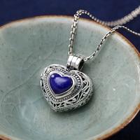 New Brand Women Nature Gemstone Lapis Lazuli Necklace Chinese Style Silver Sterling Handmade Enamel For Women