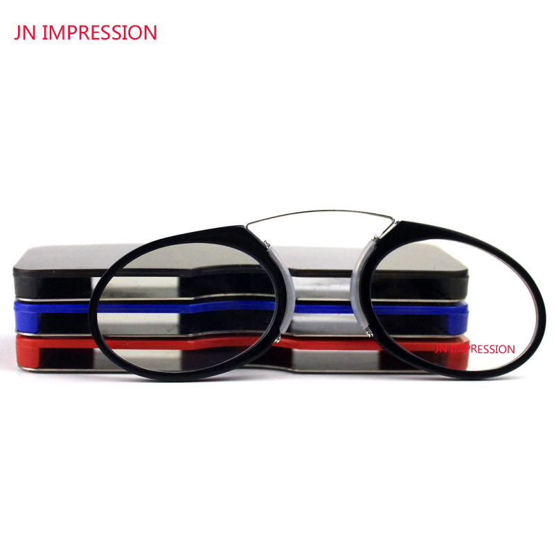 JN الانطباع الأنف كليب على نظارات القراءة البسيطة طوي pince nez طويل النظر نظارات إطار معدني المكبر sos محفظة قارئ
