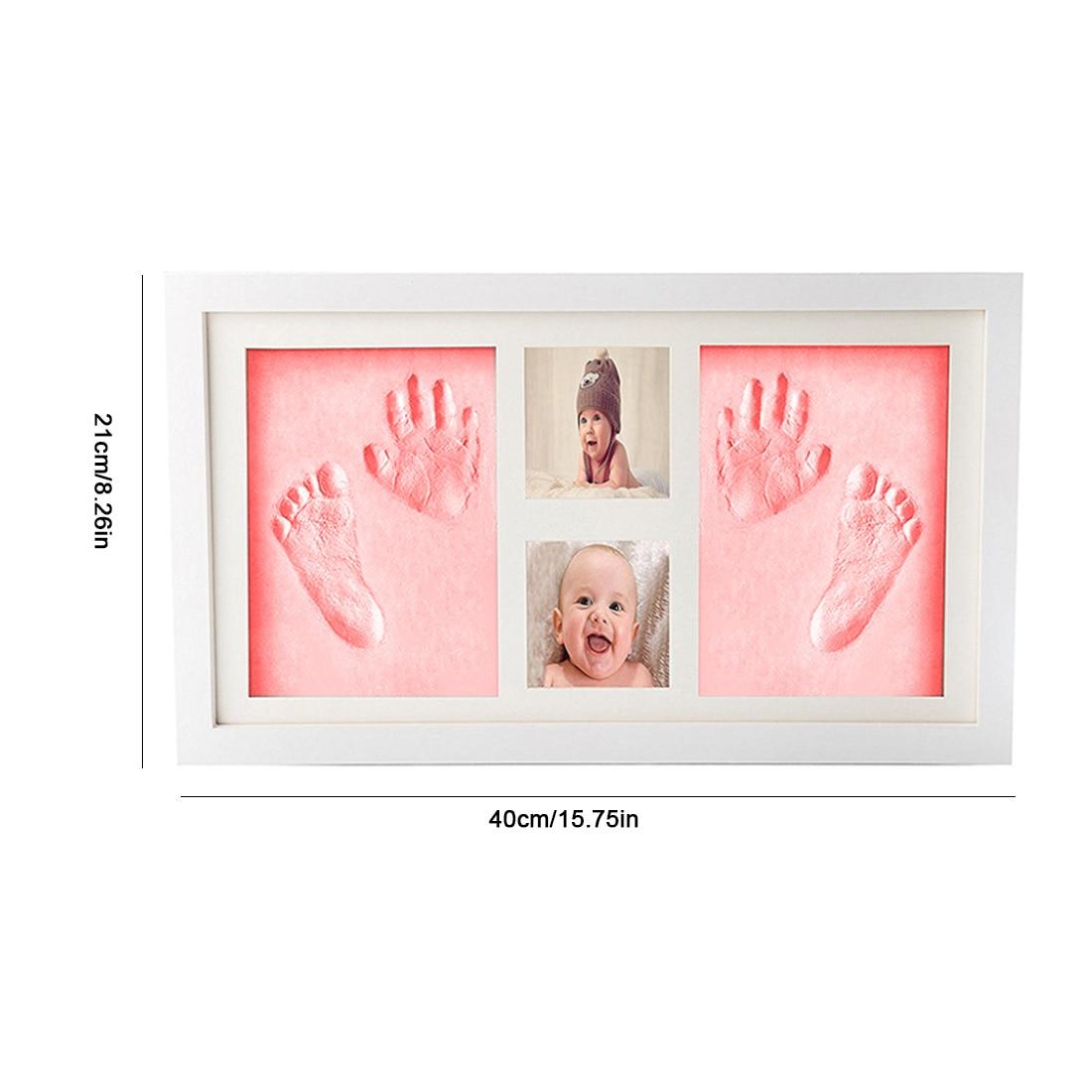 Rose bricolage Photo cadre nouveau-né bébé empreinte de main sans encre tactile Pad fille/garçon bébé douche cadeau décoration