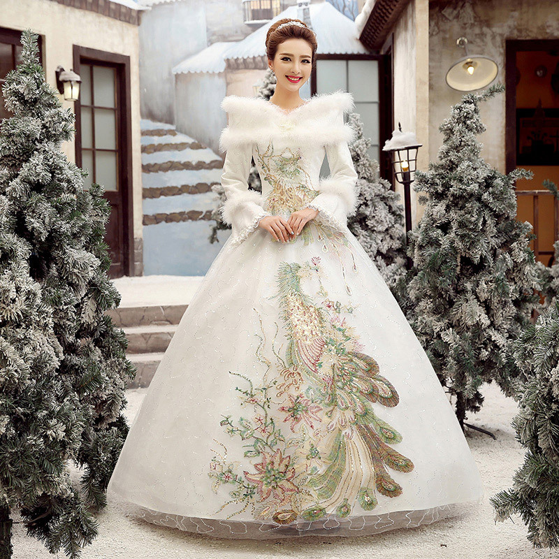 Thick winter warm wedding dress Noble Phoenix bird embroidery white ...