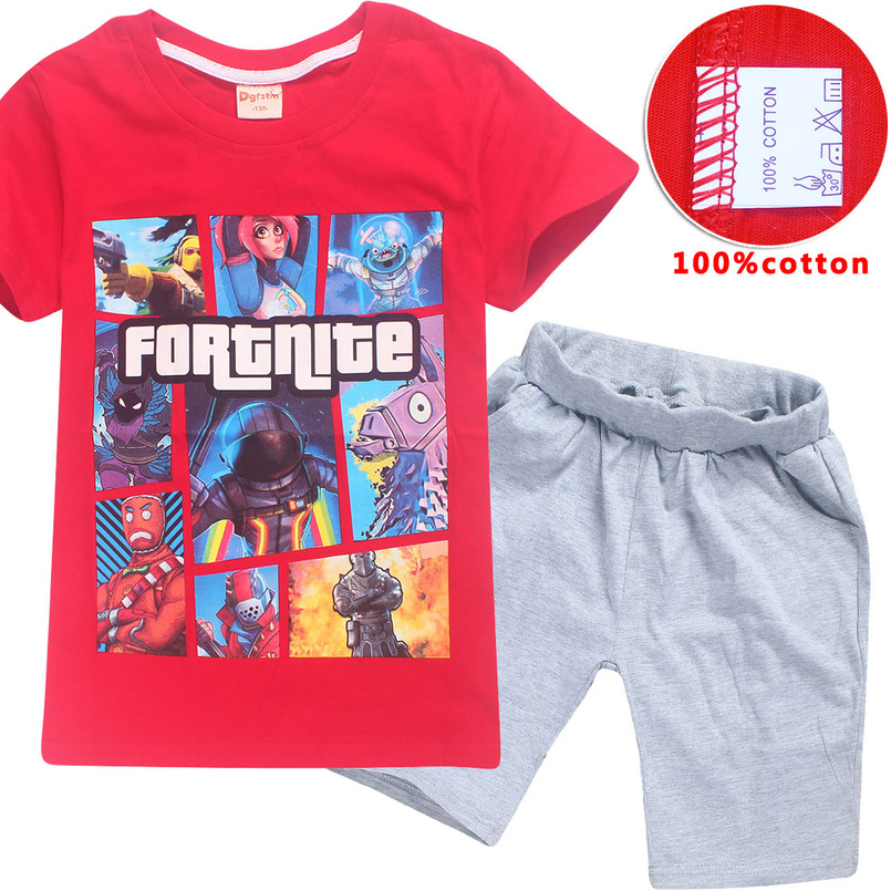 2018 Summer Sports Suit Kids Fortite Games Shirts Minecraft Short Sleeve Tops + Casual Pants Boys Girls Kids Sportswear