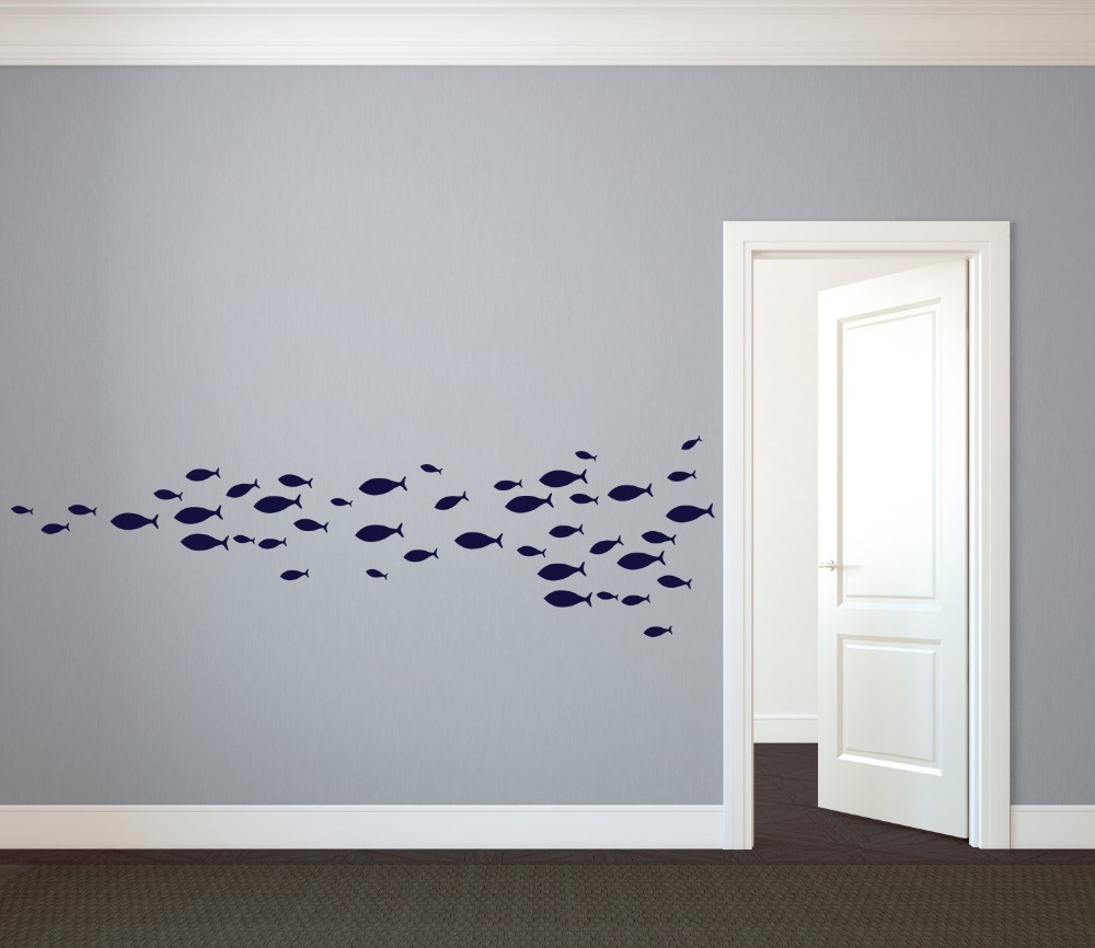60pcs 4size custom nursery school of simple fish wall decal vinyl art stickers for interior