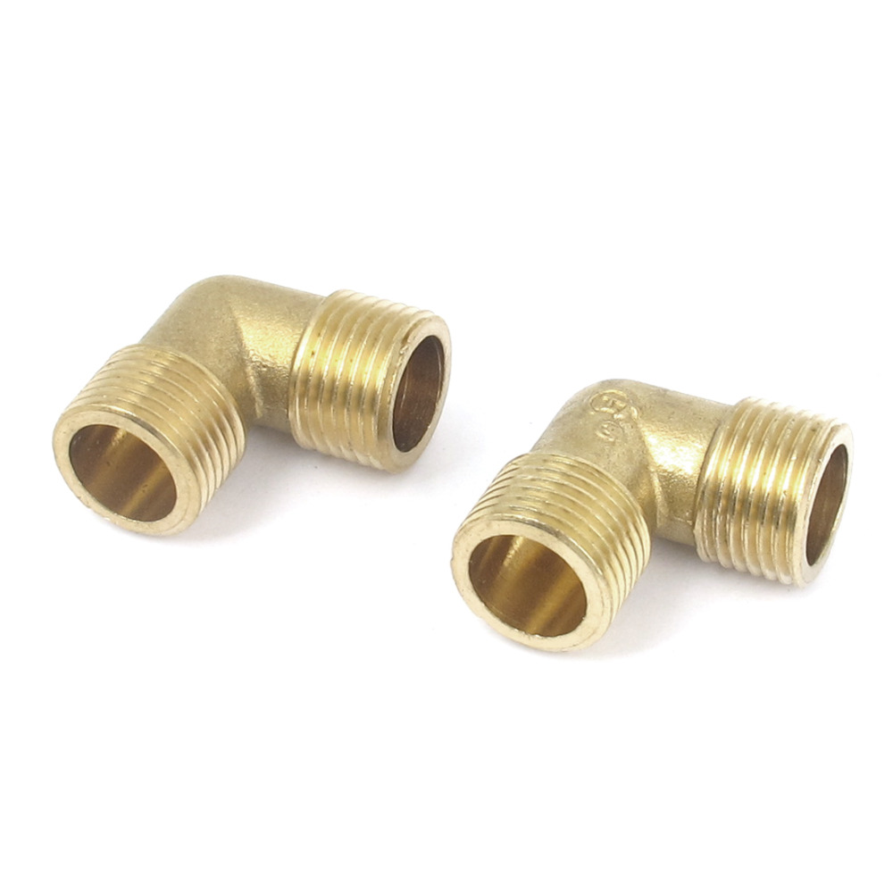 2Pcs Brass Pipe 90 Degree 1/2BSP Male to Male Thread Water Fuel Elbow Fitting 1 2 male inch bsp length 49 x 36 6mm wall thickness 3mm elbow connection thicken brass pipe adapter coupler connector 232psi