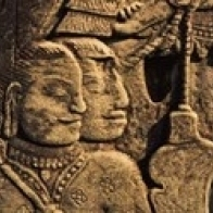 Sculptures in a temple  Bayon Temple  Angkor  Cambodia Poster Print (18 x 7)