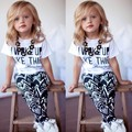 Summer Style Baby Girl clothes kids Letter Pattern T-shirt and Geometric Pattern Pants Two Piece children clothing 2-9 Years 34