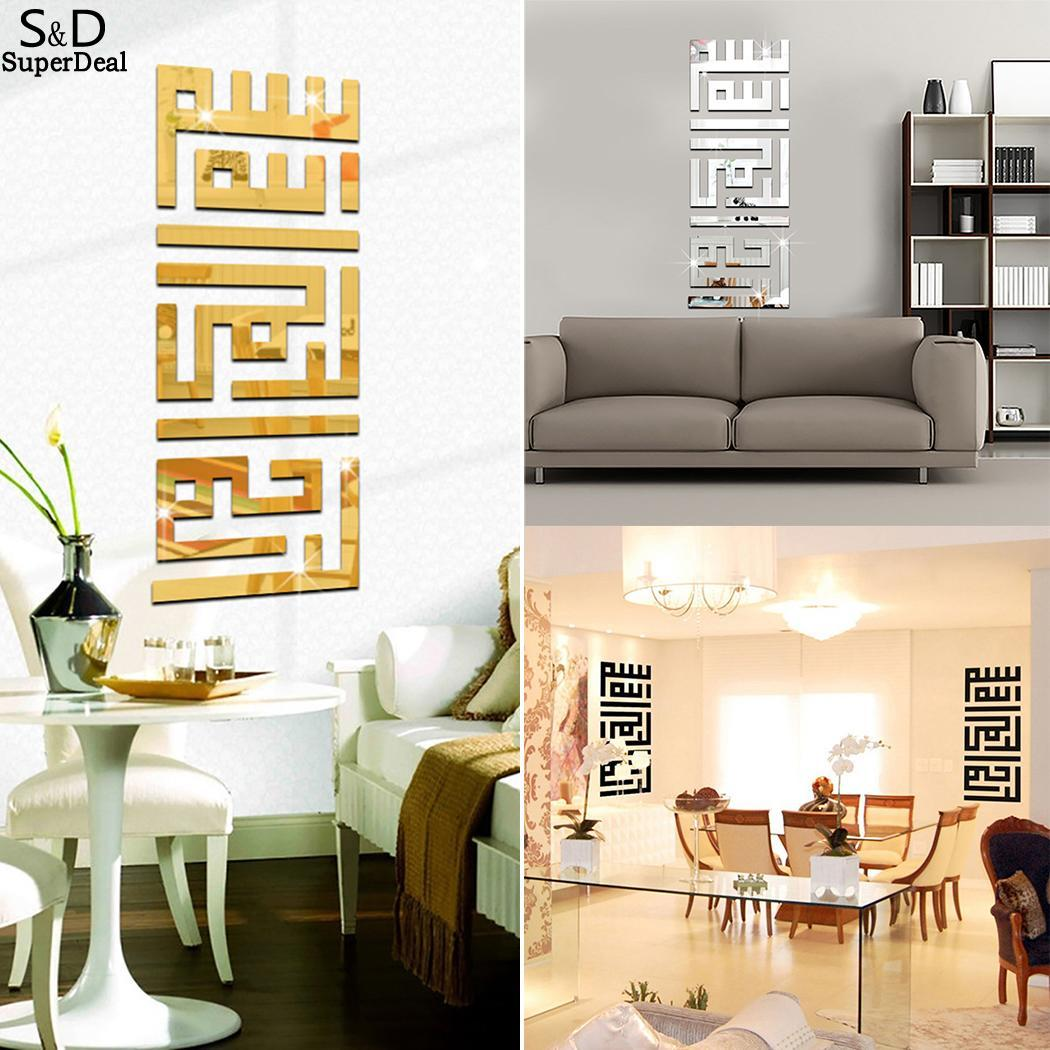 Wall Stickers Golden Modern New Decoration Mirror 3D Room ...