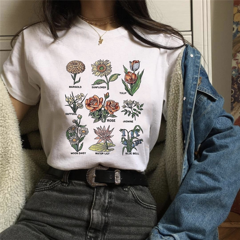 Harajuku White T-shirt Wildflower Graphic Tees Women Floral Print T Shirt Sunshine Plant These Tee Unisex T-shirt