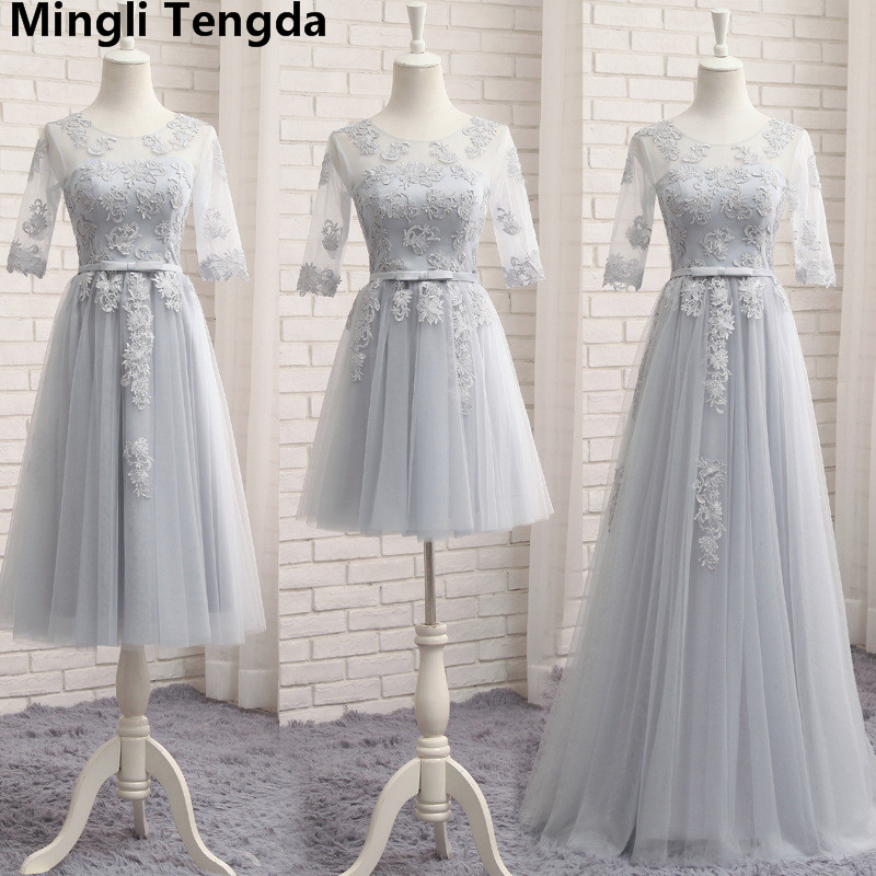 Gray   Bridesmaid     Dress   Floor-Length A Line   Bridesmaid     Dresses   O-Neck Lace   Dress   Gown 2018 robe demoiselle d'honneur Mingli Tengda