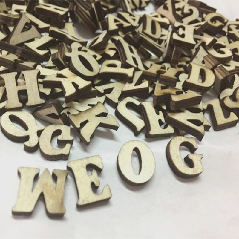 100 Pcs Brand Rustic Wooden Wood Letters Wedding Party Table Scatter Decoration Crafts Random Letters Home Decor