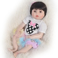 23 Inch White Skin Baby Doll Realistic Full Silicone Vinyl Alive Girl Doll Bebes Reborn toys For Children Gifts bonecas