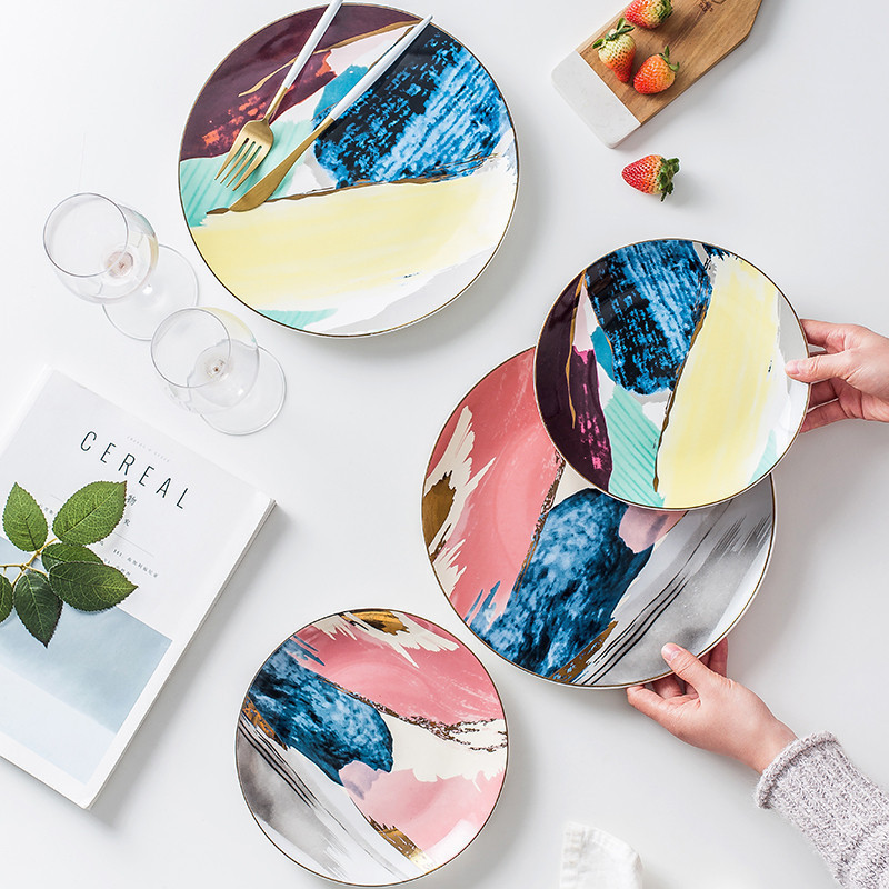 1PCS Dinnerware Watercolor Painting Gold Inlay Colorful Cloud 8 /10 inch Ceramic Plate Dinner Porcelain Cake Snack Dessert Plate