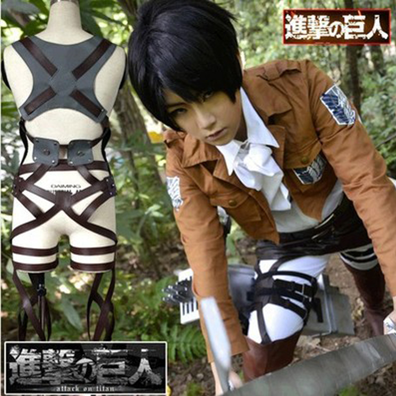 Free shipping Japanese cartoon Anime Cosplay SNK Attaque sur Titan Shingeki pas Kyojin harnais ceinture grappin costume