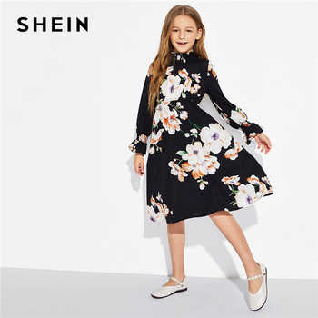 SHEIN Girls Floral Print Stand Collar Elegant Dress Kids Clothing 2019 Spring Korean Long Sleeve A Line Casual Dresses - DISCOUNT ITEM  40% OFF All Category