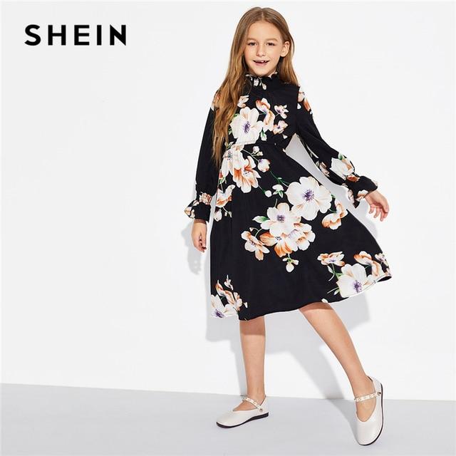 SHEIN для девочек черный Цветочный принт элегантное, со стоячим воротником платье Детская одежда 2019 на весну в Корейском стиле с длинными рукавами трапециевидной формы Повседневное платья