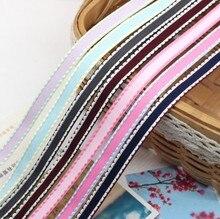 Kewgarden 3/8 9 mm Dotted Line Edge Grosgrain Ribbons Handmade Tape DIY Bowknot Satin Ribbon Riband 10 yards / lot