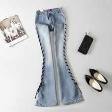 Fashion Mid Waist Bell Bottom Jeans Womens Boot Cut denim pants jean taille haute wide leg vintage flare jeans 021308