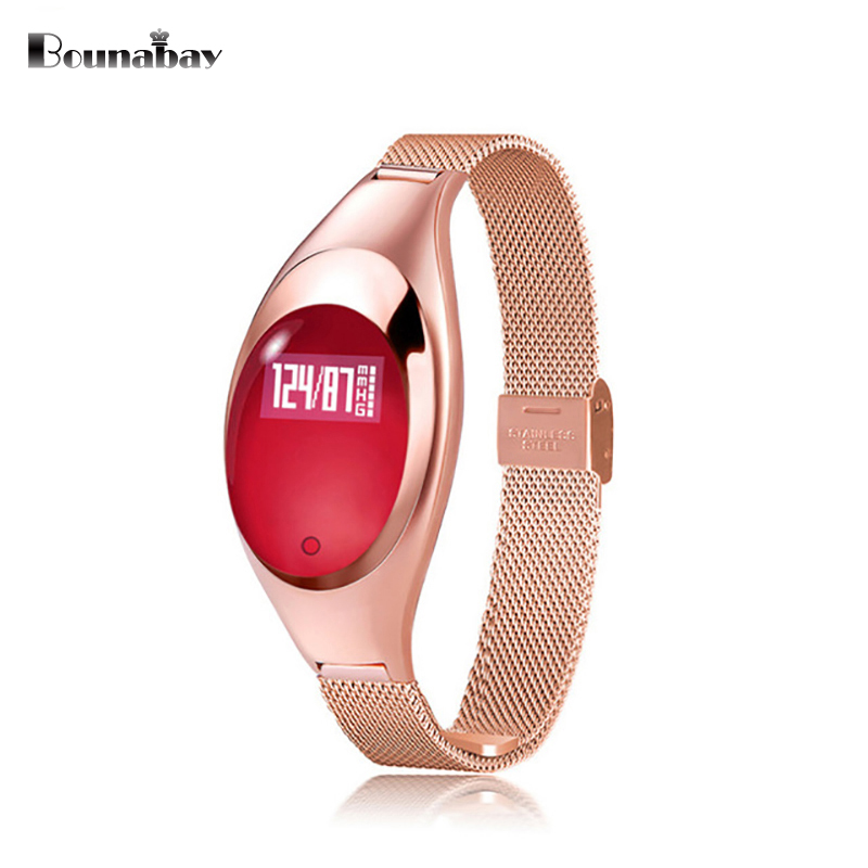 BOUNABAY touch screen bluetooth Bracelet watch for women original ladies waterproof ios Android phone women clock watches clocks bounabay heart rate monitor smart bracelet watch women bluetooth for apple android ios phone woman touch clock ladies watches