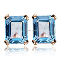 Natural Topaz Stud Earring 925 Sterling silver Classic Crystal Fashion Fine Elegant Jewelry Princess Queen Birthstone Gift