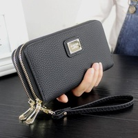 Women Leather Wallet 2017 Summer Long Double Zipper Lady Card Holder Coin Purse Female Phone Bag