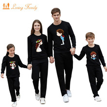 Family Matching Outfits 2018 Cotton Cute Print Winter Warm Shirts Clothes Mother Daughter Father Son