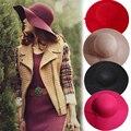 2016 Hot New Otoño Sombreros Para Las Mujeres de la Señora de Ala Ancha de Fieltro de lana Cloche Bowler Hat Fedora Floppy Sun Beach Bowknot Cap