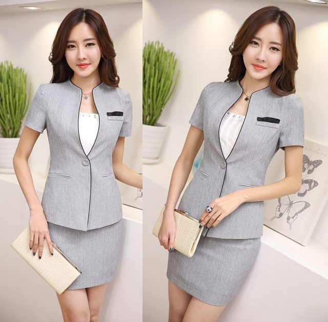 92019fbe82d3 Formal Elegant Grey Uniform Design 2015 Summer Short Sleeve Female Work  Suits With Tops And Skirt For Ladies Office Blazers Sets