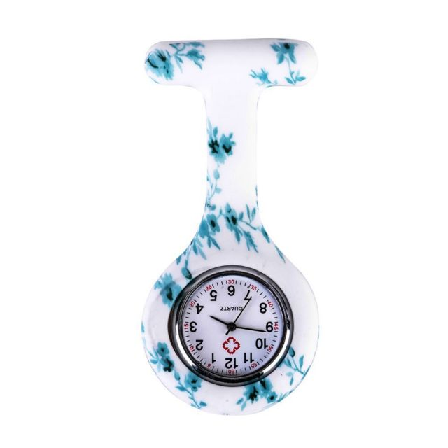 1pcs Big round pattern Silicone Nurses Brooch Tunic Fob Pocket Watch Stainless Dial,13type
