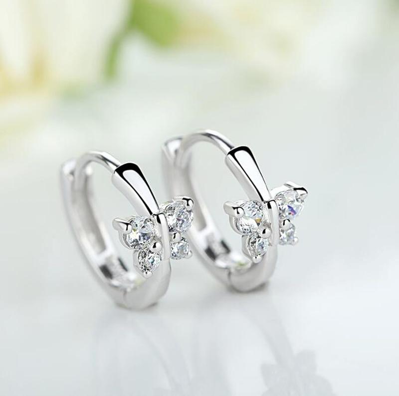 Baby Princess 925 Silver Butterfly Zircon Small Hoop Earrings