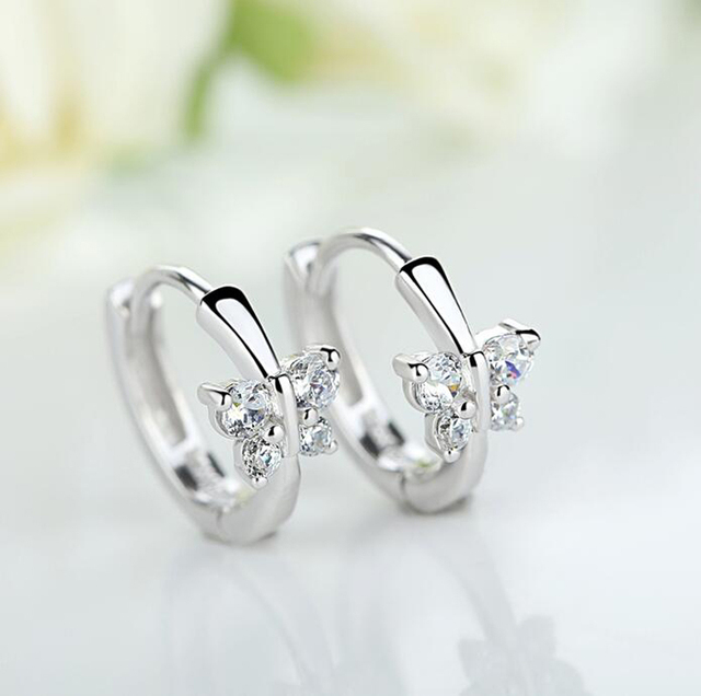 Baby Princess 925 Silver Butterfly Zircon Small Hoop Earring For Girls Child Wom