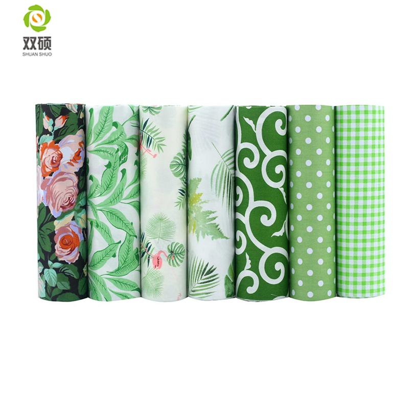 Shuanshuo 7pcs/lot, Green Foral Twill Cotton Fabric,Patchwork Cloth For DIY Quilting Sewing Baby&Children Sheets Dress Material