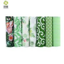 Shuanshuo 7pcs/lot, Green Foral Twill Cotton Fabric,Patchwork Cloth For DIY Quilting Sewing Baby&Children Sheets Dress Material(Hong Kong,China)