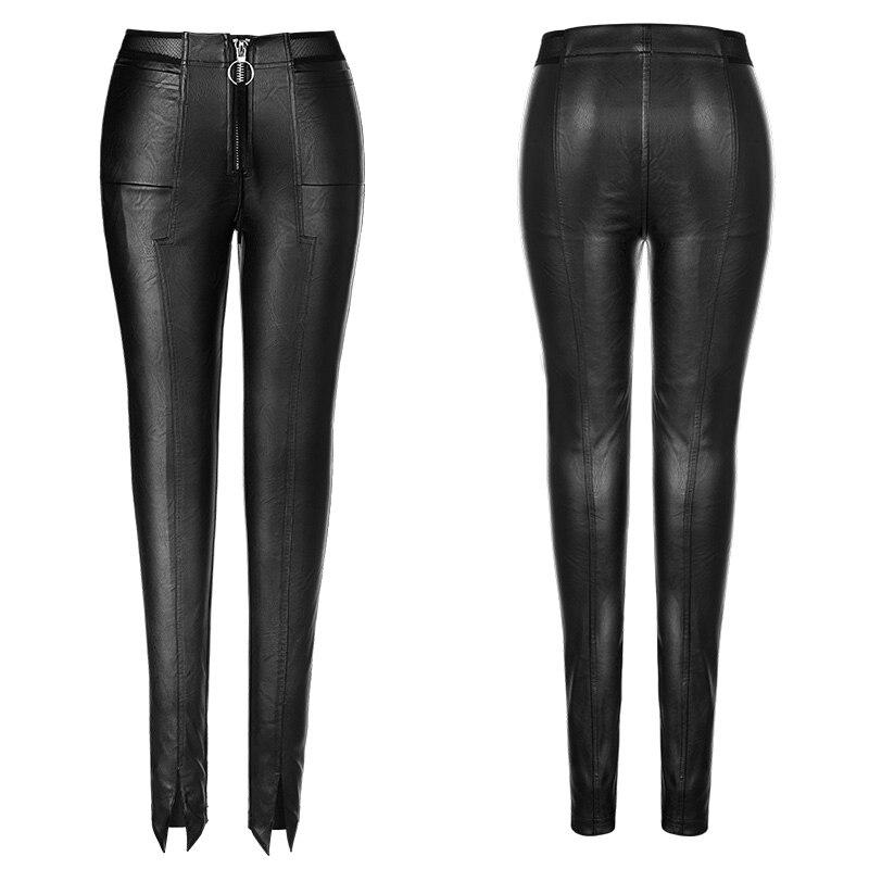 PU Leather Stitching Leggings Winter Plus Velvet Leggings Women High Waist Black Leggins Warm Skinny Long Pants Legging C3931 - 5