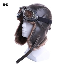 Winter Bomber Hats Plush Earflap Russian Ushanka with Goggles Men Womens Trapper Aviator Pilot Hat Faux Leather Fur Snow Caps cheap X001 Faux Fur Polyester Faux Leather Acrylic BARRYKONE Unisex Solid Adult