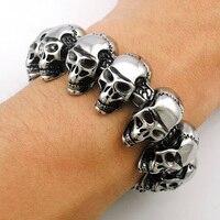 ATGO 2016 New Cool Punk punk skull Bracelet for Man 316 Stainless Steel Man's High Quality Heavy Fashion Biker jewelry KB548