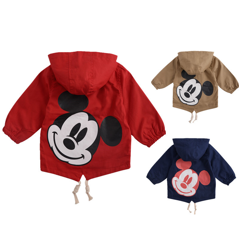 Angeltree Spring Boys Girls Jackets For Children Hooded Cute Mickey Windbreaker Kids Coats Baby Clothes Outerwear Clothing