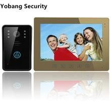 Yobang Security freeship 10″ Video Intercom Doorbell Touch Button Remote Unlock Night Vision Security CCTV Camera Surveillance